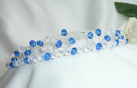 Handmade Bridal Prom Blue & AB Crystal Silver tiara headband
