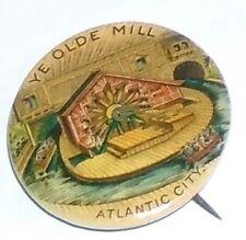 1896 pin ATLANTIC City AMUSEMENT PARK Ride pinback Ye Olde Mill button