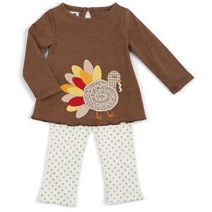 Mud Pie Girls Thanksgiving Turkey Tunic Top and Gold Dot Leggings Set 1112299