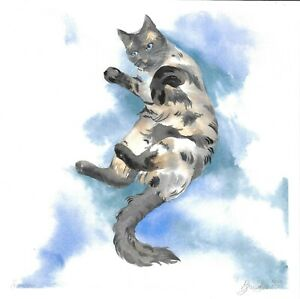 original painting 25 х 25 cm 56BD art samovar watercolor animal cat Signed