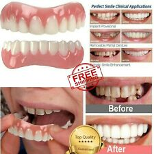 2Pcs Silicone Upper Lower False Teeth Dental Veneers Dentures Fake Tooth Smile