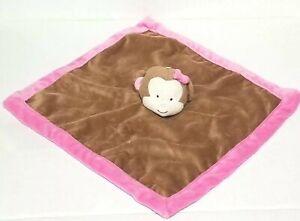 Tiddliwinks Security Blanket Monkey Brown Plush Pink Trim Bow Lovey 13 X 13