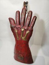 Vintage Hand Made Welded Scrap Metal Art Creepy Hand Glove Folk Art