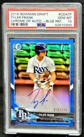 2018 Bowman Chrome BLUE REFRACTOR AUTO Rays TYLER FRANK RC Card /150 PSA 10 Pop7