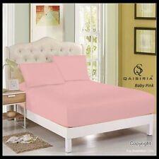 Draps-housses roses pour le lit en 100% coton, 200 cm x 200 cm