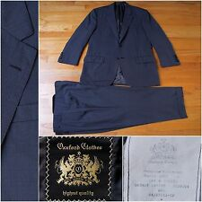 2014 $4995 Oxxford Clothes Two Button Suit in Blue Check, 40S, 34W 26L