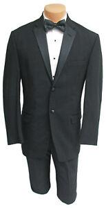 Men's Black Calvin Klein Tuxedo Jacket with Pants Wedding Mason Prom 42 Long