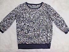 JLO Shirt Medium Ivory Black Beige Animal Print 3/4 Sleeve Crew Neck Casual