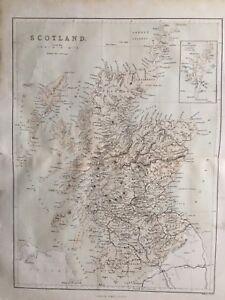 c.1860 Antique Map; Scotland by James Virtue / William Hughes