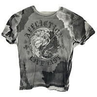 AFFLICTION Men's Size Large Distressed Gray Graphic T Shirt