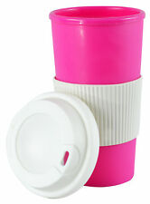Coffee Tea Travel Thermal Mug Double Walled W Screw Top Lid Pink Classic Design