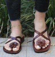 Toe Fashion Unique Leather Women's Sandals Ladies Flats Flip Flops Beach Thongs