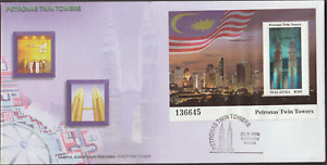 (A210)MALAYSIA 1999 PETRONAS TWIN TOWERS HOLOGRAM MS FDC FAMOUS BUILDINGS