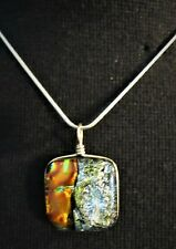 """Fused Dichroic Glass Necklace -Silver Colored Rope Chain-15"""" Long"""