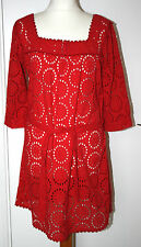 PRINCIPLES UK14 EU42 BRIGHT RED BRODERIE ANGLAIS BELTED UNLINED TUNIC - NEW
