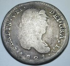 1821 RG Zs Spanish Mexico 2 Reales Zacatecas Silver Rare Two Real Antique Coin
