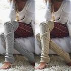 US Women Winter Crochet Knitted Stocking Leg Warmers Boot Thigh High Socks Fancy