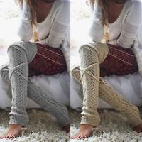 Femmes Hiver Chaud Tricot Crochet Haut Genou Jambières Jambières Bottes Bas