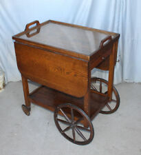 Antique Oak Tea Cart with drop leaves – original finish - With Serving Tray