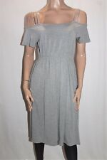 EZRA Brand Grey Cold Shoulder Midi Dress Size M BNWT #Ti65