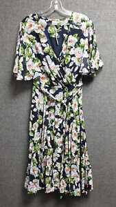 Asos Pleated Wrap Midi Dress Floral Print UK 14 LN017 ii 04