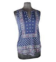 NWT Lucky Brand Women's Dark Blue Patterned Sleeveless Boho Top Size S