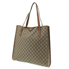 GUCCI GG Plus Tote Hand Bag Brown PVC Leather Italy Vintage Authentic #FF973 O