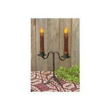 "Colonial Double Taper Candle Holder in Black Wrought Iron, 7"" Tall"