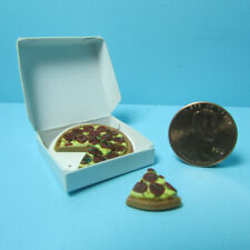 Dollhouse Miniature Replica Pepperoni Pizza with Slice in Box IM65679