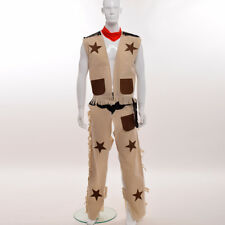 Western Wild Cowboy Costume Outfit Halloween Fancy Dress Up Stag Party Costume