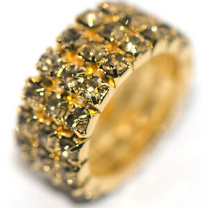 Wide Full Crystal Champagne Womens Party Ring Adjustable Size Rings Gold Plated