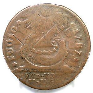 1787 18-H R-5 PCGS VF 20 UNITED STATES 4 Cinq Fugio Colonial Copper Coin