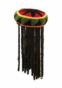 Rasta Hat with Hair Jamaican Dreadlocks Bob Marley Fancy Dress Reggae Beanie Wig