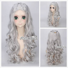 A song of ice and fire Daenerys Targaryen Long Sliver White Cosplay Wig+Wig Cap
