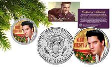 ELVIS PRESLEY JFK Half Dollar Coin w/Christmas Tree Ornament Capsule Young Elvis