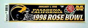 Vintage UNUSED University of Michigan Wolverines 1998 Rose Bowl Bumper Sticker