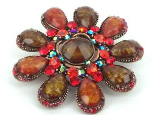 Kirks Folly Brooch Pin Jewelry Multiple Colors Rhinestones Large Copper Jewelry