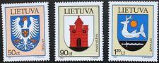 FRANCOBOLLI CITTA 'DI ARMI, 1996, Lituania, SG RIF: 628-630, 3 Set Timbro, Gomma integra, non linguellato