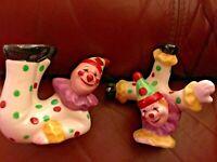 VINTAGE Acrobatic Clown Salt Pepper shakers JAPAN