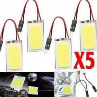 5x New White 48 SMD COB LED T10 4W 12V Car Interior Panel Light Dome Lamp Bulb ~