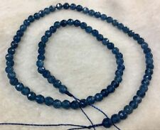 NATURAL 4MM Blue Ink Round Faceted Gemstone Kyanite Loose Beads 15""