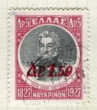 GREECE;  1932 early surcharged issue fine used 1.50d. value