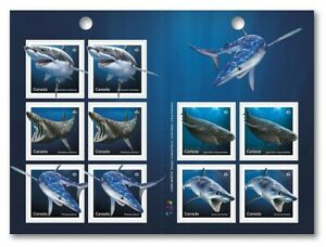 SHARKS in Canadian Waters = Predators = Full Booklet of 10 sts Canada 2018 MNH