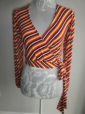 NOBODY'S CHILD LONG SLEEVE JERSEY WRAP TOP RED MULTI MIX STRIPE SIZE 10 NWOT