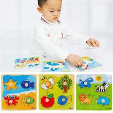 Baby Toddler Intelligence Development Animal Wooden Brick Puzzle Toy