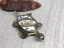 Vintage Mexico Nickel Silver Abalone Inlay Turtle Tortoise Brooch Pin