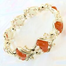 Vtg Coro Coral Pearl Link Bracelet Signed Thermoset Gold Tone 7 Inch Collectable