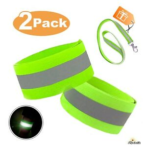 2 Pack Reflective Tape Bands Adjustable Running Gear Safety reflector Arm Strap
