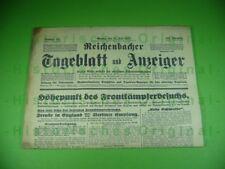 Alte Zeitung Reichenbach 1935; Mylau Schloßfest Kaiserschloß, Frontkämpferbesuch