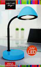 LED Desk Lamp with Adjustable Gooseneck Stand - Blue -  Plug-In 3W Warm White